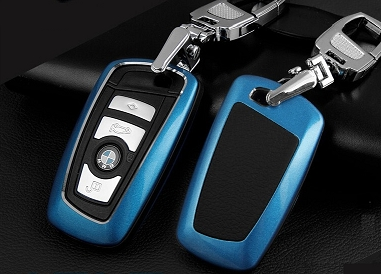 Metallic Leather Cover Shell Case for BMW Series Smart 3 button Remote Key