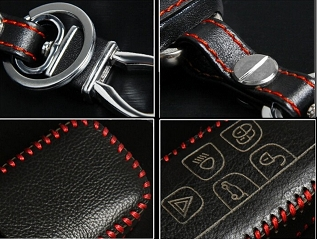 Luxury Leather Cover Case for Land Rover Remote Key - Red Stitch