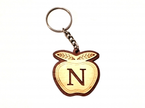 FANCY INITIAL N LETTER ALPHABET WOODEN KEY CHAIN/ KEY RING In Panvel