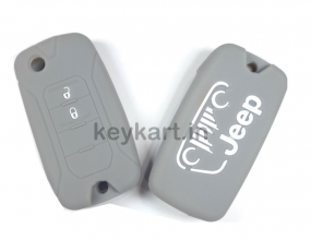 JEEP COMPASS 2 Button Silicone Flip Key Cover - GREY In Panvel