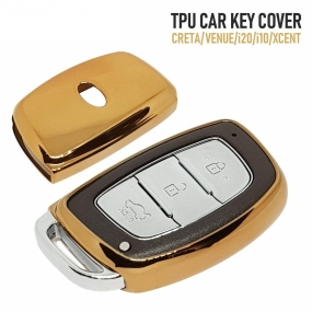 TPU Key Cover for Hyundai Venue, Creta, i20 Elite, i10 Grand Smart Key (Push Button Start Models) (Gold) In Panvel