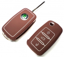 SKODA LAURA/RAPID/SUPERB/FABIA/YETI 3 BUTTON SILICONE KEY COVER - BROWN