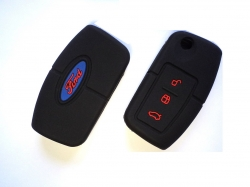 FORD ECOSPORT/FORD FIESTA 3 BUTTON REMOTE KEY SILICONE KEY COVER - BLACK+RED