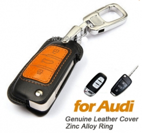 Leather Cover Case for AUDI 3 Button Series Remote Key