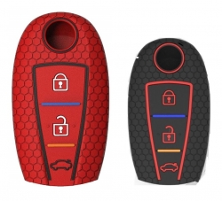 Silicone Key Cover for Suzuki 3b Smart Key  - Black/Red